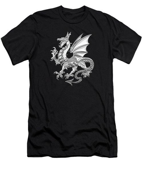 Silver Winged Norse Dragon - Icelandic Viking Landvaettir Over Black Velvet  Men's T-Shirt (Athletic Fit)