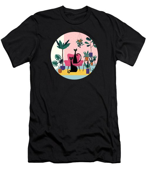 Sleek Black Cats Rule In This Urban Jungle Men's T-Shirt (Athletic Fit)