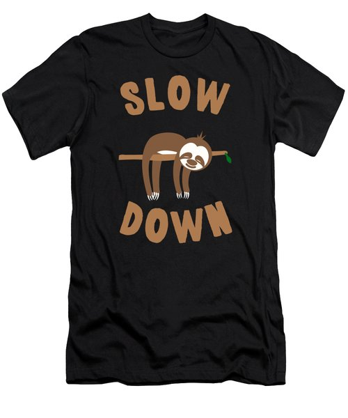 Slow Down Sloth Men's T-Shirt (Athletic Fit)