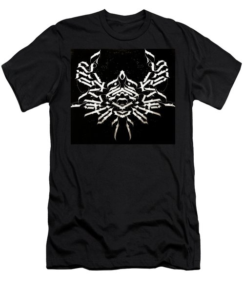 Space Crab. Calligraphic Abstract Men's T-Shirt (Athletic Fit)