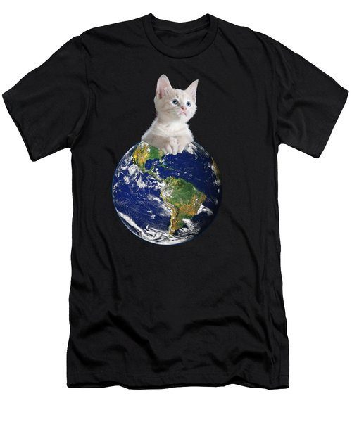 Space Kitten Ruler Of Earth Funny Men's T-Shirt (Athletic Fit)
