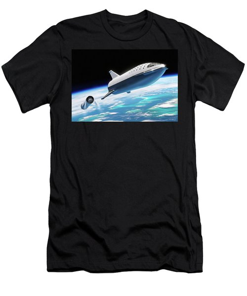 Men's T-Shirt (Athletic Fit) featuring the digital art Spacex Bfr Big Falcon Rocket With Earth by Pic by SpaceX Edit by M Hauser