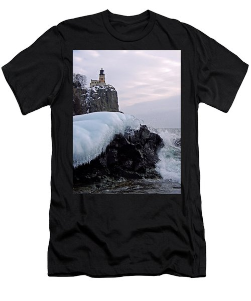 Men's T-Shirt (Athletic Fit) featuring the photograph Split Rock Lighthouse Winter by James Peterson
