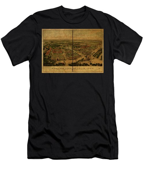 St Louis Missouri Worlds Fair Vintage City Street Map 1904 Men's T-Shirt (Athletic Fit)