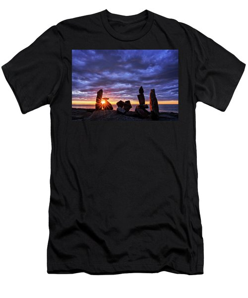 Men's T-Shirt (Athletic Fit) featuring the photograph Standing Stone 1 Halibut Pt.  by Michael Hubley