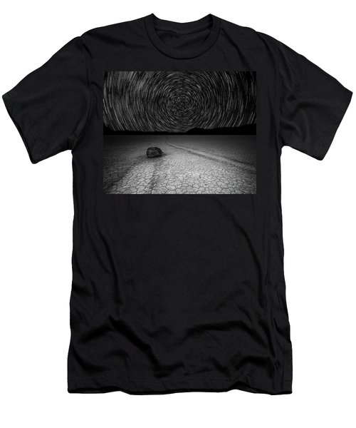 Star Trails Over Racetrack Playa Black And White Men's T-Shirt (Athletic Fit)