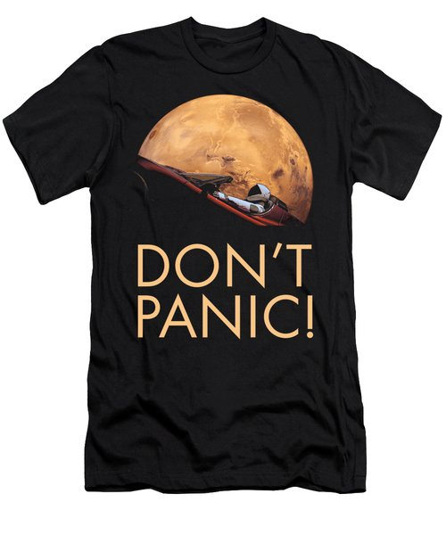 Starman Don't Panic In Orbit Around Mars Men's T-Shirt (Athletic Fit)