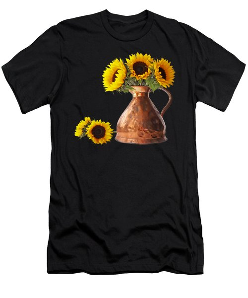 Sunflowers In Copper Pitcher On Black Square Men's T-Shirt (Athletic Fit)