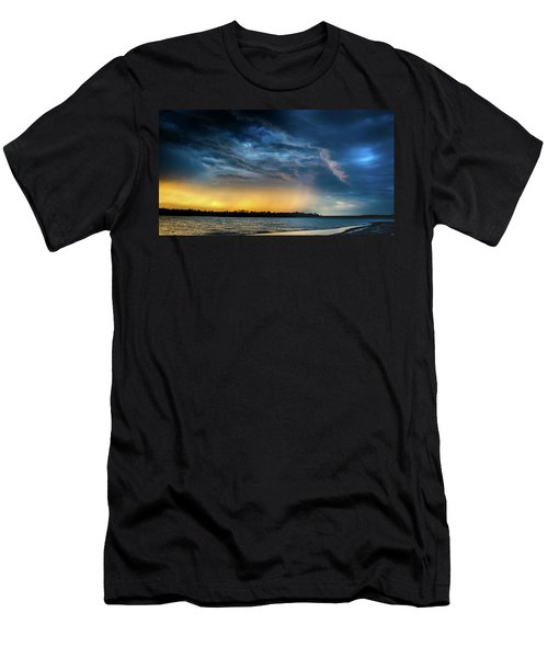 Men's T-Shirt (Athletic Fit) featuring the photograph Sunrise Storm Pano by Jeff Phillippi