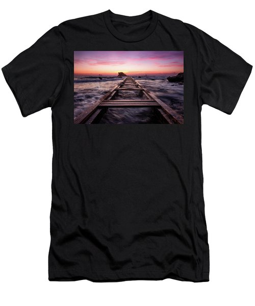 Sunset Shining Over A Wooden Pier In Livorno, Tuscany Men's T-Shirt (Athletic Fit)