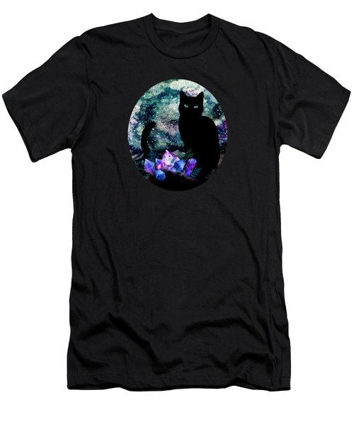 The Cat With Aquamarine Eyes And Celestial Crystals Men's T-Shirt (Athletic Fit)