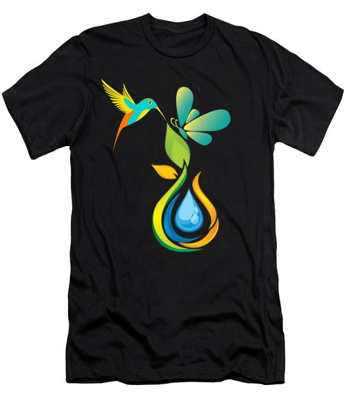The Kissing Flower And The Butterfly On Flower Bud Men's T-Shirt (Athletic Fit)