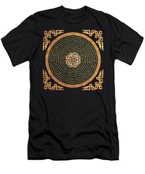Tibetan Thangka - Buddhist Mandala With Double Vajra Over Black Leather  Men's T-Shirt (Athletic Fit)