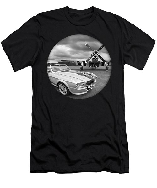 Time Portal - Mustang With P-51 Men's T-Shirt (Athletic Fit)