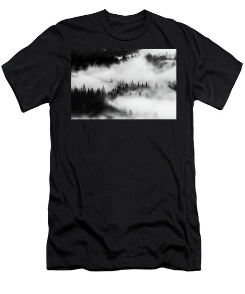 Men's T-Shirt (Athletic Fit) featuring the photograph Trees In The Mist 1 by Stephen Holst