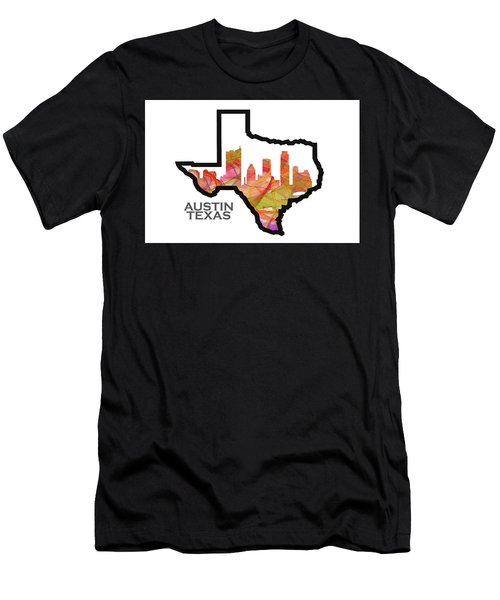 Us State Maps - Text Austin, Texas - Summer Swirl Men's T-Shirt (Athletic Fit)