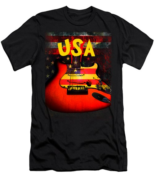 Usa Flag Guitar Purple Stars And Bars Men's T-Shirt (Athletic Fit)