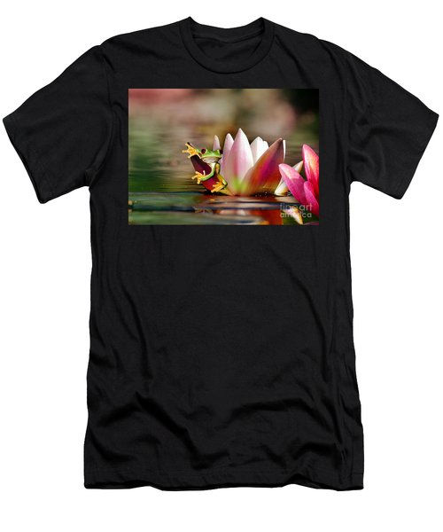 Water Lily And Frog Men's T-Shirt (Athletic Fit)