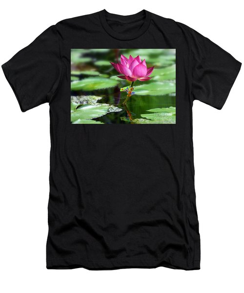 Water Lily And Little Frog Men's T-Shirt (Athletic Fit)