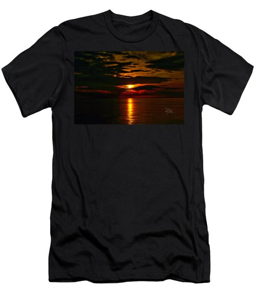 Men's T-Shirt (Athletic Fit) featuring the photograph Water Sunset Clouds by Meta Gatschenberger