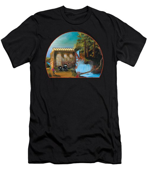 Water Wheel Overlay Men's T-Shirt (Athletic Fit)