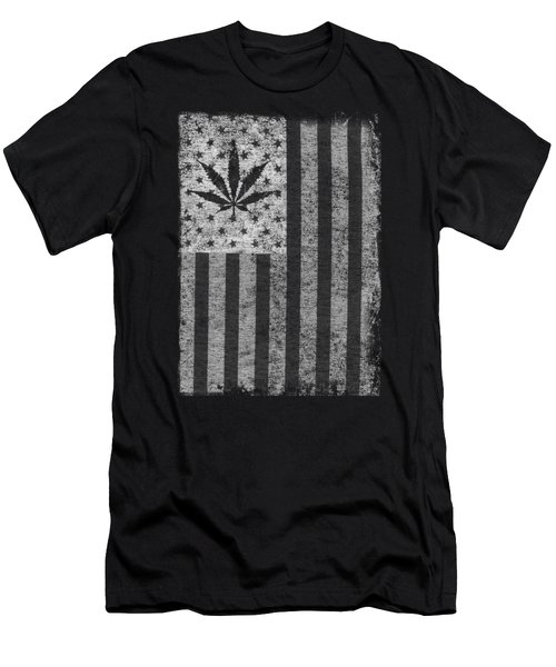 Weed Leaf American Flag Us Men's T-Shirt (Athletic Fit)