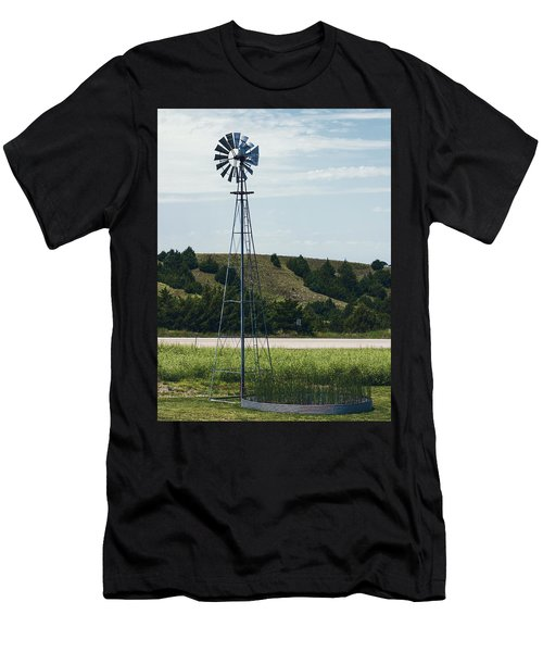 Men's T-Shirt (Athletic Fit) featuring the photograph Western Nebraska Windmill by Edward Peterson