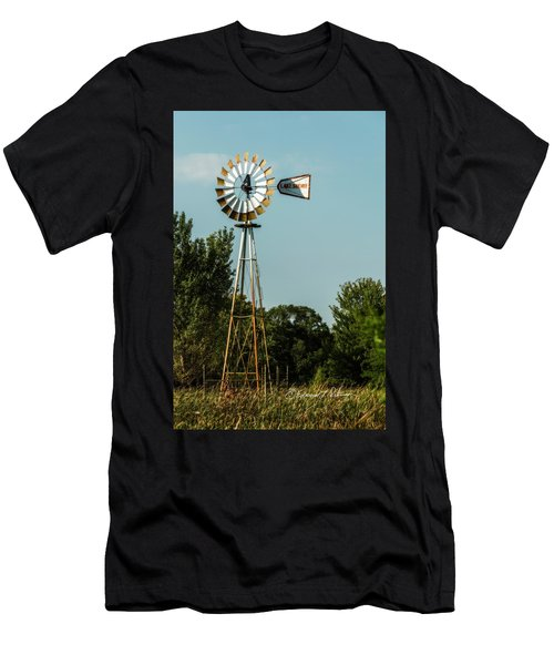 Men's T-Shirt (Athletic Fit) featuring the photograph Windmill Pump Out by Edward Peterson