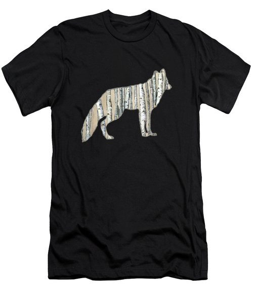 Woods Forest Lodge Wolf With Aspen Trees Men's T-Shirt (Athletic Fit)