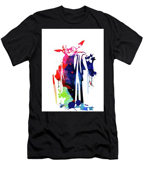 Yoda Wearing Classes Watercolor Men's T-Shirt (Athletic Fit)