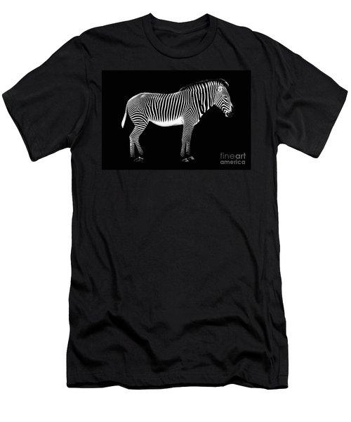 Zebra On Black Background Men's T-Shirt (Athletic Fit)