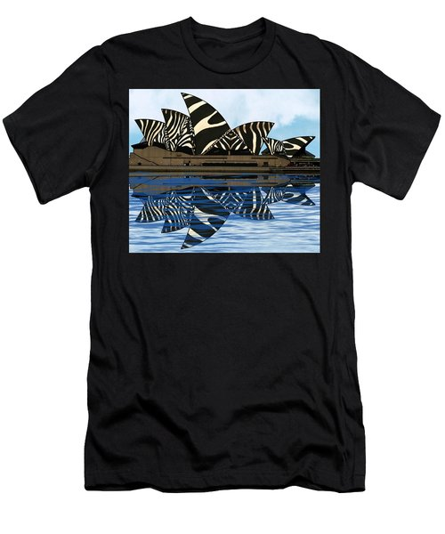 Men's T-Shirt (Athletic Fit) featuring the mixed media Zebra Opera House 4 by Joan Stratton