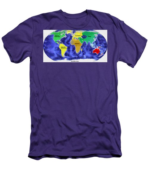 Men's T-Shirt (Slim Fit) featuring the painting Map Of The World by Georgi Dimitrov