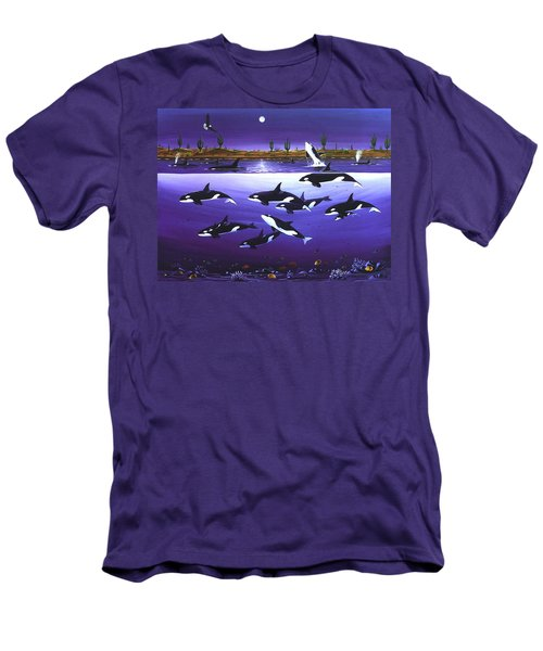 Men's T-Shirt (Slim Fit) featuring the painting A Pod Of Desert Orcas by Lance Headlee
