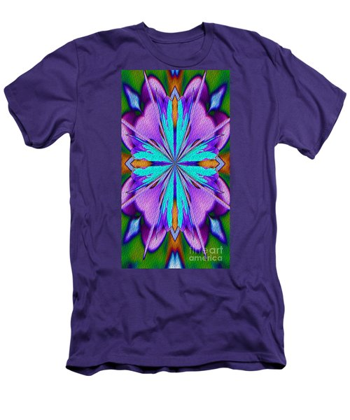 Abstract Purple Aqua And Green Men's T-Shirt (Slim Fit) by Smilin Eyes  Treasures