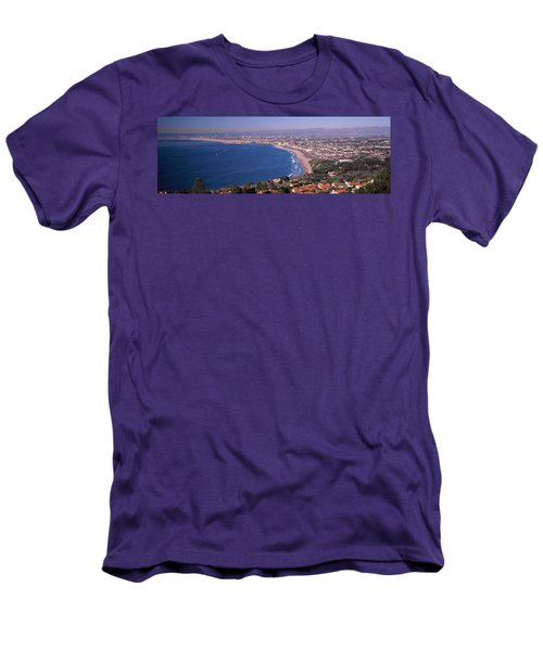 Aerial View Of A City At Coast, Santa Men's T-Shirt (Athletic Fit)