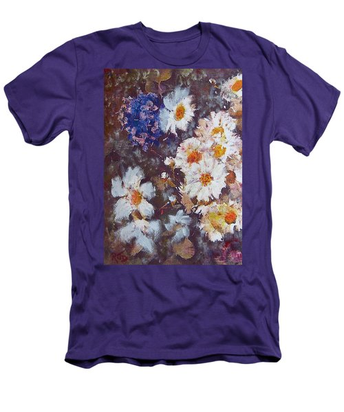 Men's T-Shirt (Slim Fit) featuring the painting Another Cluster Of Daisies by Richard James Digance