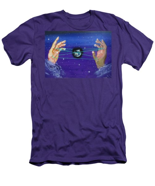 Men's T-Shirt (Athletic Fit) featuring the painting Celestial Cats Cradle by Thomas J Herring