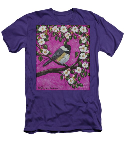 Men's T-Shirt (Slim Fit) featuring the painting Chickadee In Apple Blossoms by Jennifer Lake