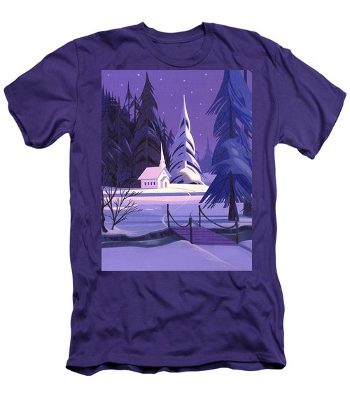 Church In Snow Men's T-Shirt (Slim Fit) by Michael Humphries