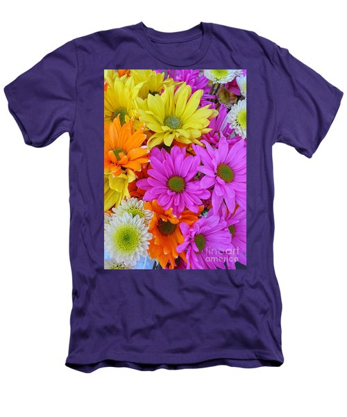 Colorful Daisies Men's T-Shirt (Slim Fit) by Sami Martin