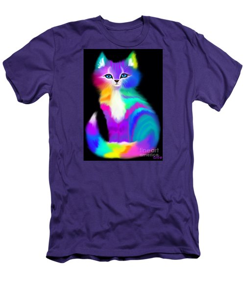 Colorful Striped Rainbow Cat Men's T-Shirt (Slim Fit) by Nick Gustafson