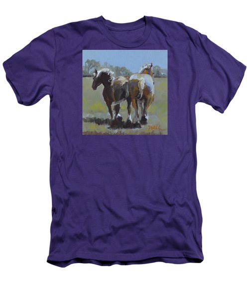 Men's T-Shirt (Slim Fit) featuring the painting Come Back Max And Major by Pattie Wall