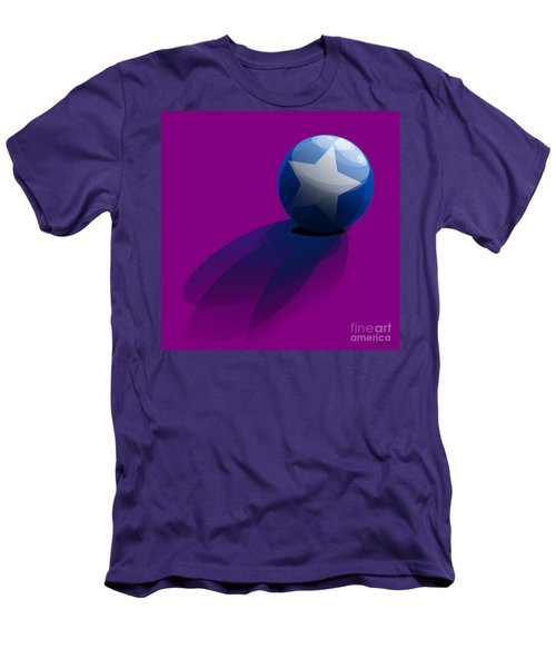 Men's T-Shirt (Slim Fit) featuring the digital art Blue Ball Decorated With Star Purple Background by R Muirhead Art