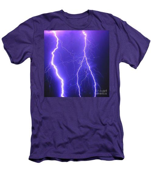 Double Triple Blue Lightning Men's T-Shirt (Athletic Fit)