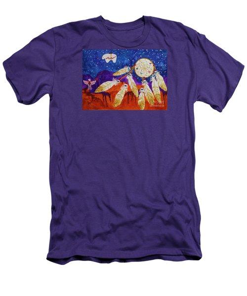 Dreamcatcher Over The Mesas Men's T-Shirt (Slim Fit) by Ellen Levinson