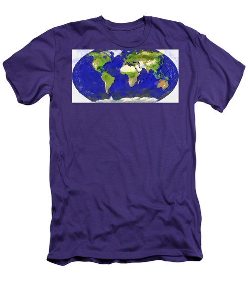 Global Map Painting Men's T-Shirt (Athletic Fit)