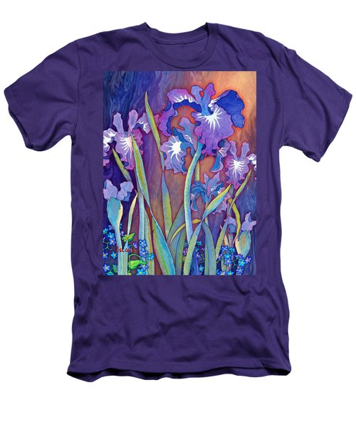 Men's T-Shirt (Slim Fit) featuring the mixed media Iris Bouquet by Teresa Ascone