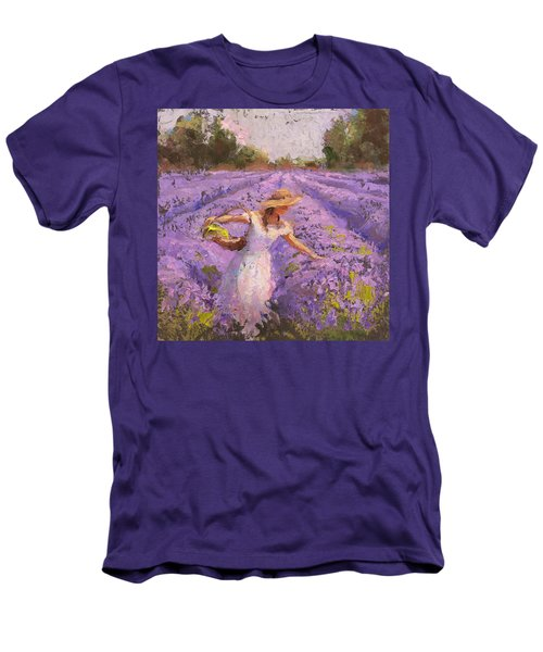 Woman Picking Lavender In A Field In A White Dress - Lady Lavender - Plein Air Painting Men's T-Shirt (Slim Fit) by Karen Whitworth