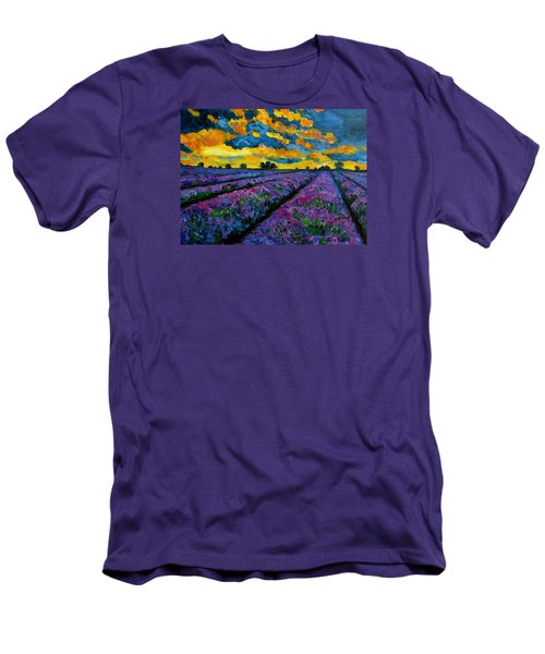 Lavender Fields At Dusk Men's T-Shirt (Slim Fit) by Julie Brugh Riffey